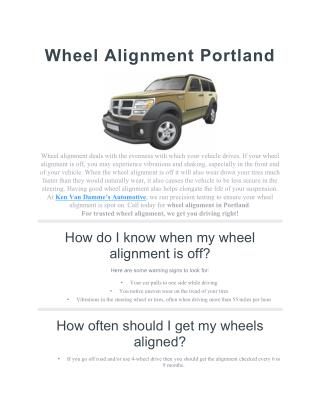Wheel Alignment Portland