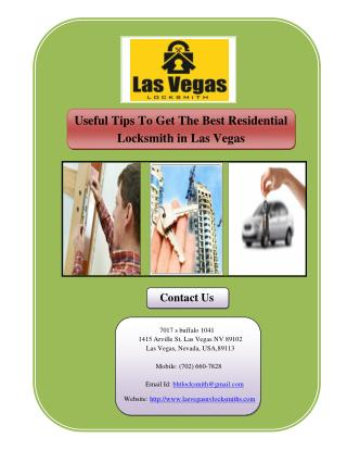 Useful Tips To Get The Best Residential Locksmith in Las Vegas