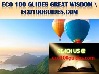 ECO 100 GUIDES GREAT WISDOM \ eco100guides.com