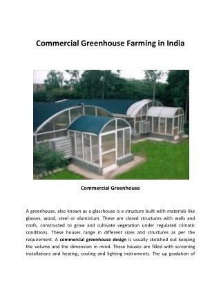 Commercial Greenhouse Farming in India