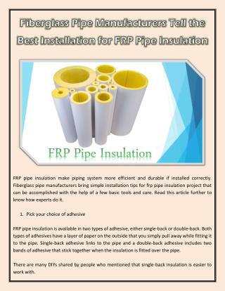 Fiberglass Pipe Manufacturers Tell the Best Installation for FRP Pipe Insulation