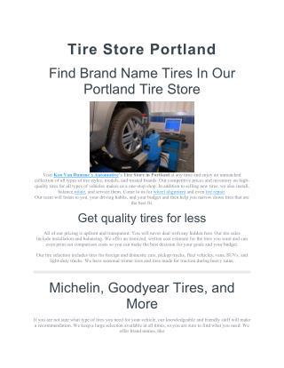 Tire Store Portland