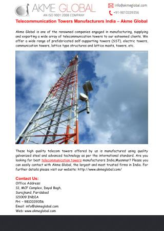 Telecommunication Towers Manufacturers India � Akme Global