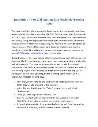 Resolution To Os X El Capitan-Run Macbook Freezing Issue
