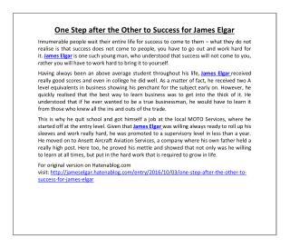 One Step after the Other to Success for James Elgar