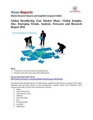 Global Desoldering Gun Market Insights, Analysis and Forecasts 2021: Hexa Reports
