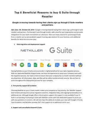Top 6 Beneficial Reasons to buy G Suite through Reseller