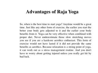 Advantages of Raja Yoga