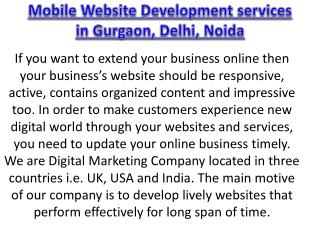 Mobile Website Development services in Gurgaon, Delhi, Noida