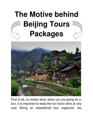 The Motive behind Beijing Tours Packages