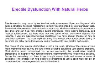 Erectile Dysfunction With Natural Herbs