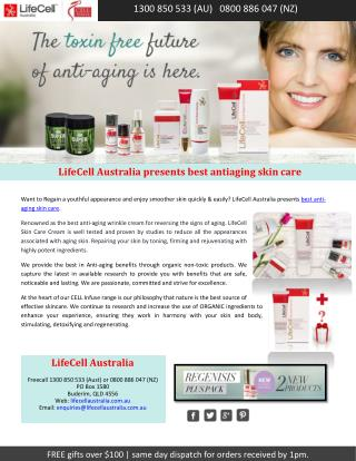 LifeCell Australia presents best antiaging skin care