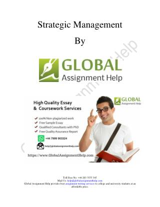 Sample on Strategic Management By Global Assignment Help