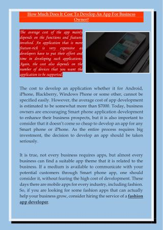 How Much Does It Cost To Develop An App For Business Owner
