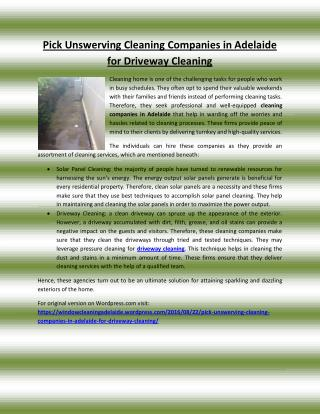 Pick Unswerving Cleaning Companies in Adelaide for Driveway Cleaning
