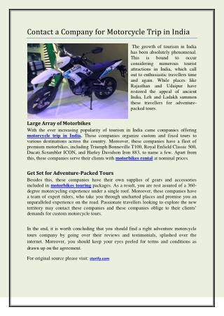 Contact a Company for Motorcycle Trip in India