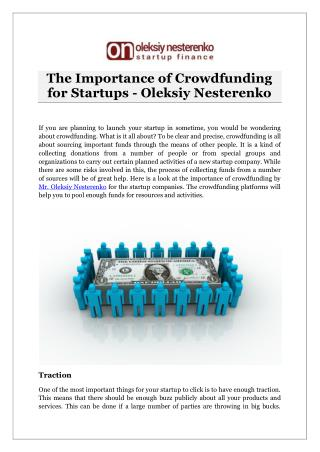 The Importance of Crowdfunding for Startups - Oleksiy Nesterenko