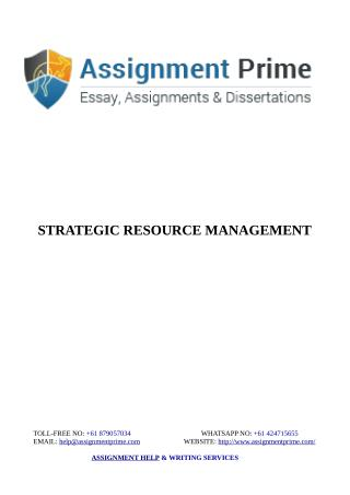Assignment Prime Sample - Strategic Resource Management