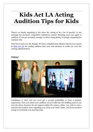 Kids Act LA Acting Audition Tips for Kids