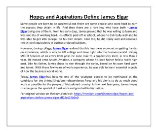 Hopes and Aspirations Define James Elgar