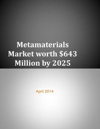 Metamaterials Market worth $643 Million by 2025
