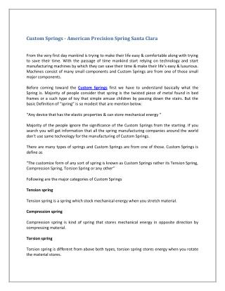 Custom Springs - American Precision Spring Santa Clara