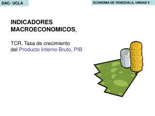 INDICADORES MACROECONOMICOS,   TCR, Tasa de crecimiento del Producto Interno Bruto, PIB