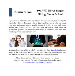 You Will Never Regret Hiring Glenn Duker!
