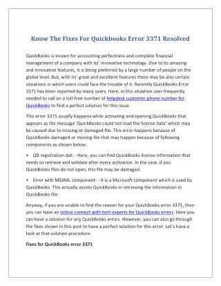 Know The Fixes For Quickbooks Error 3371 Resolved