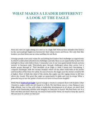 WHAT MAKES A LEADER DIFFERENT? A LOOK AT THE EAGLE