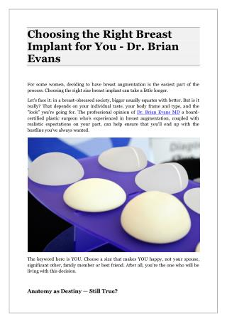 Choosing the Right Breast Implant for You - Dr. Brian Evans