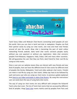 Tamilo Video Chat Room - aahachat.org