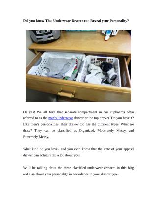 Did you know That Underwear Drawer can Reveal your Personality?