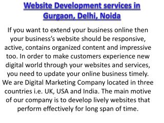Website Development services in Gurgaon, Delhi, Noida