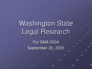 Washington State Legal Research