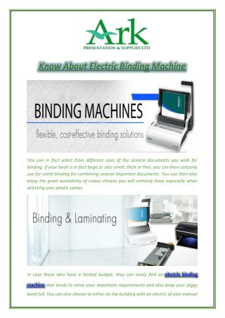Know About Electric Binding Machine