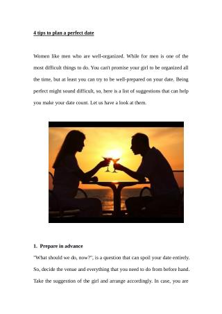 4 tips to plan a perfect date