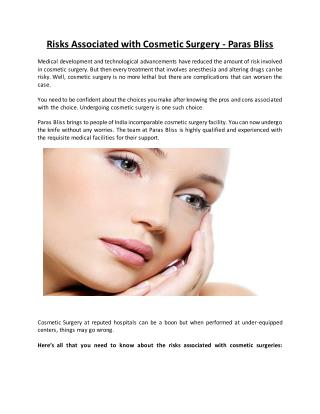 Risks Associated with Cosmetic Surgery - Paras Bliss