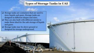 Different Types of Storage Tanks in UAE