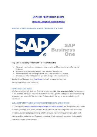 SAP CRM Dubai | SAP Business One | ERP Softwares Dubai