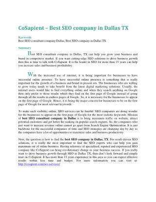 CoSapient – Best SEO company in Dallas TX