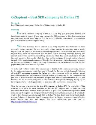 CoSapient � Best SEO company in Dallas TX