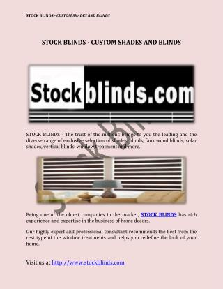 Stock Blinds - Custom Shades And Blinds