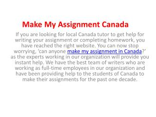 Make My Assignment Online Canada