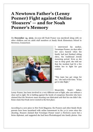 A Newtown Father's (Lenny Pozner) Fight against Online 'Hoaxers' — and for Noah Pozner's Memory