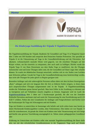 Die Kinderyoga Ausbildung Der Tripada ® Yogalehrerausbildung
