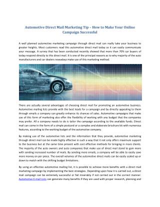 Automotive Direct Mail Marketing Tip – How to Make Your Online Campaign Successful
