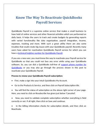 Know The Way To Reactivate Quickbooks Payroll Services