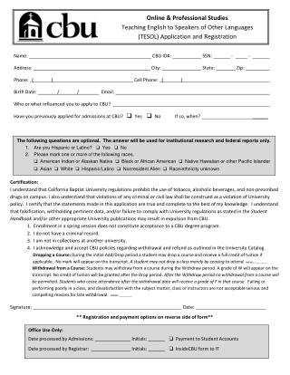 Tesol Application and Registration Form Online