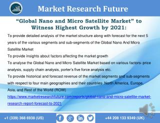 Global Nano and Micro Satellite Market Research Report- Forecast to 2021